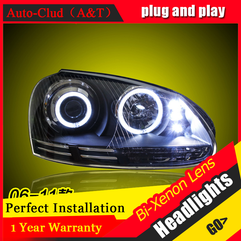 Car Styling For VW jetta led headlights 2006-12 For jetta head lamp Angel eye led DRL front light Bi-Xenon Lens xenon HID KIT car styling for vw jetta headlights u angel eyes 2012 2017 for sagitar bi xenon double lens hid