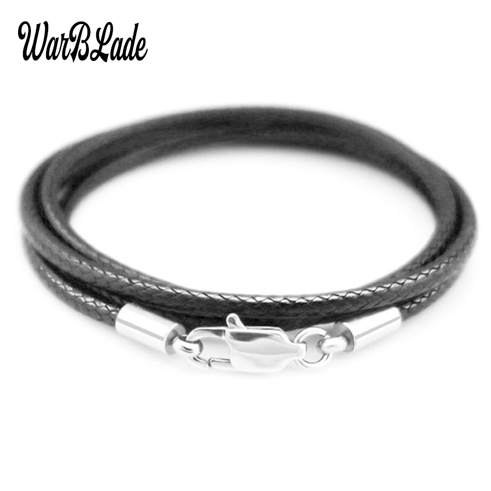 1.5mm 2mm 3mm Leather Cord Black Necklace Chain Stainless Steel Lobster Clasp Connector Waxed Rope For Men Women Jewelry Making