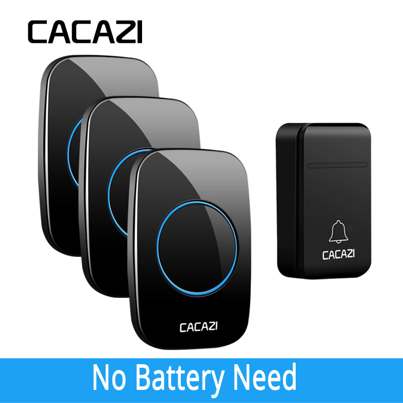 CACAZI New FA12 Self-Powered Wireless Doorbell Waterproof Smart No Battery 200M Remote LED Home Calling Bell 38 Rings 3 Volume
