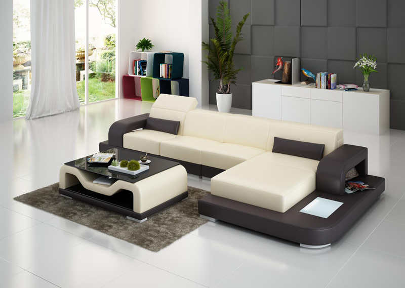 small size l shape modern design living room leather sofa