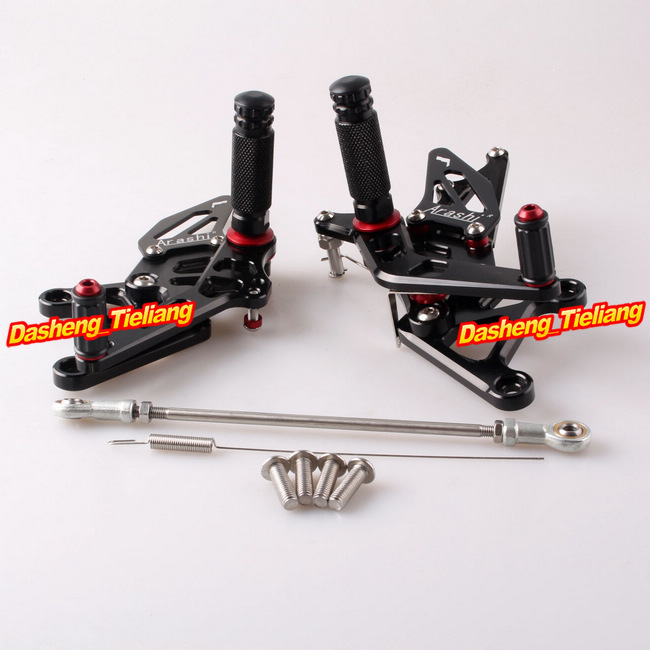 For Honda CBR 250RR Rearset Footrest Foot Pegs 2010 2011 2012 2013 2014 Adjustable CNC Alumium Alloy, Black