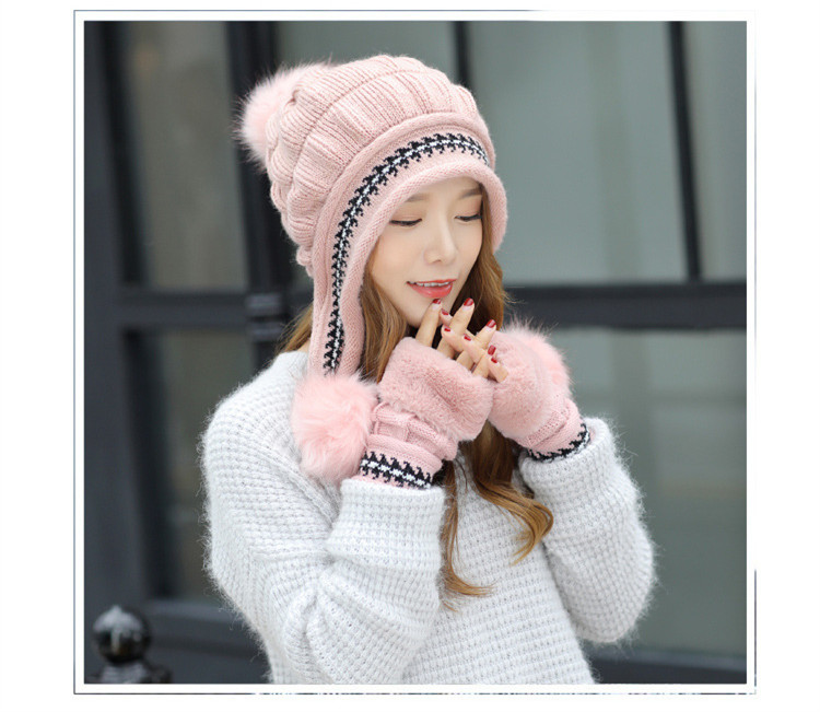 New Autumn And Winter Korean Version Of The Warm Women Hat Gloves Set Knitted Hair Ball Two Sets Of Ladies Thickening HC37 (2)