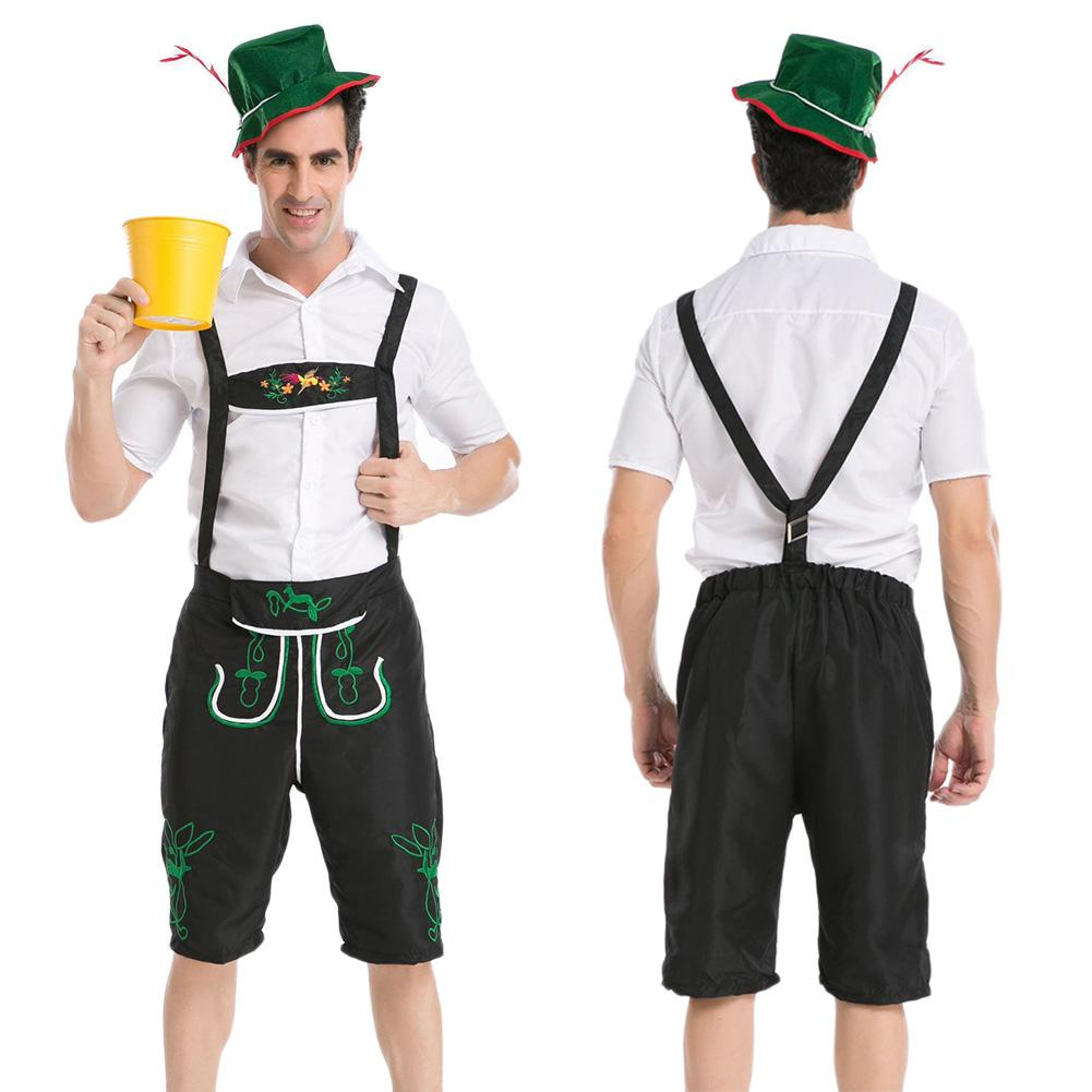 Suspenders Pant Halloween Cosplay Menswear Workers' Uniforms Oktoberfest Farm Game Costumes Mens Fancy Dress Outfit With Hat
