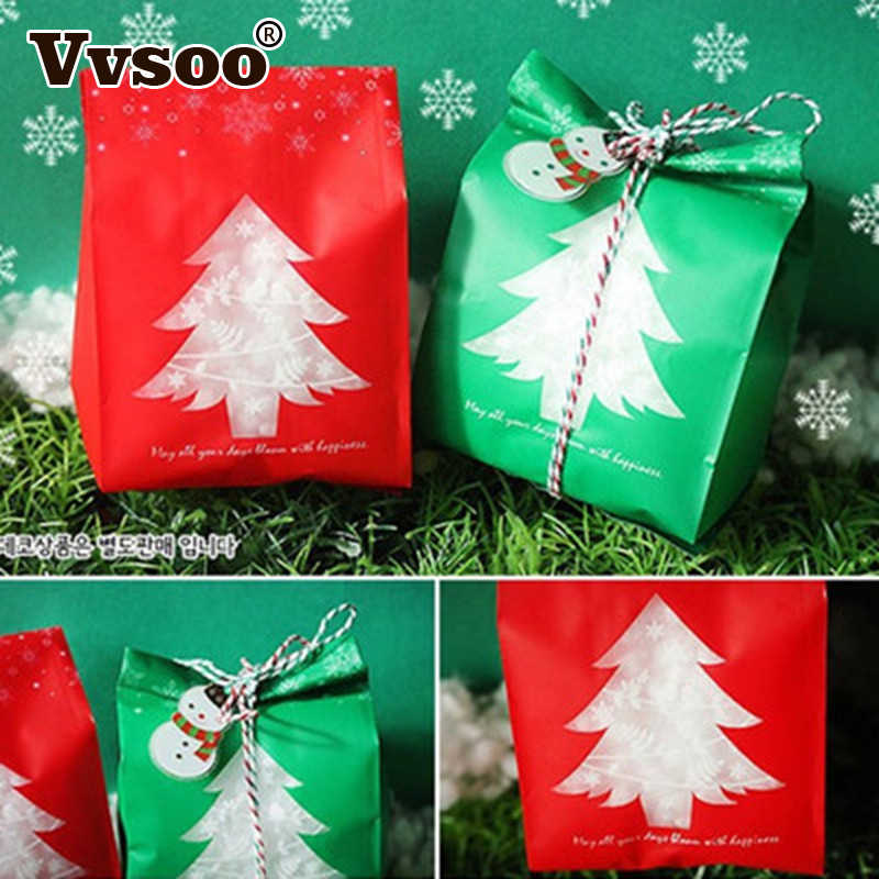 10pcs Red Green Merry Christmas Tree Snowflake Plastic Bag Candy Dessert Bags Wedding Christmas Party Kids Gift Bags Supplies