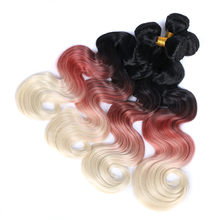 AliNova hair Synthetic Hair Extensions 1 Bundle Ombre Hair Weaves Synthetic Fiber Hair Weaves Body Wave Ombre Hair(China)