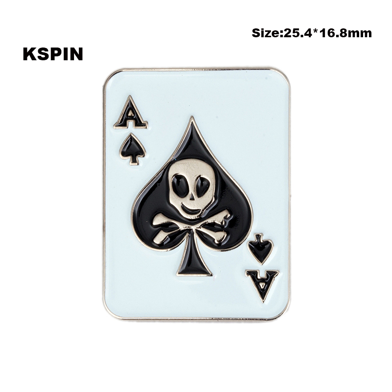 Imported From Abroad 5pcs Ace Skull Ribbon Bow Lapel Pin Badge Pin Xy0066 We Have Won Praise From Customers Badges