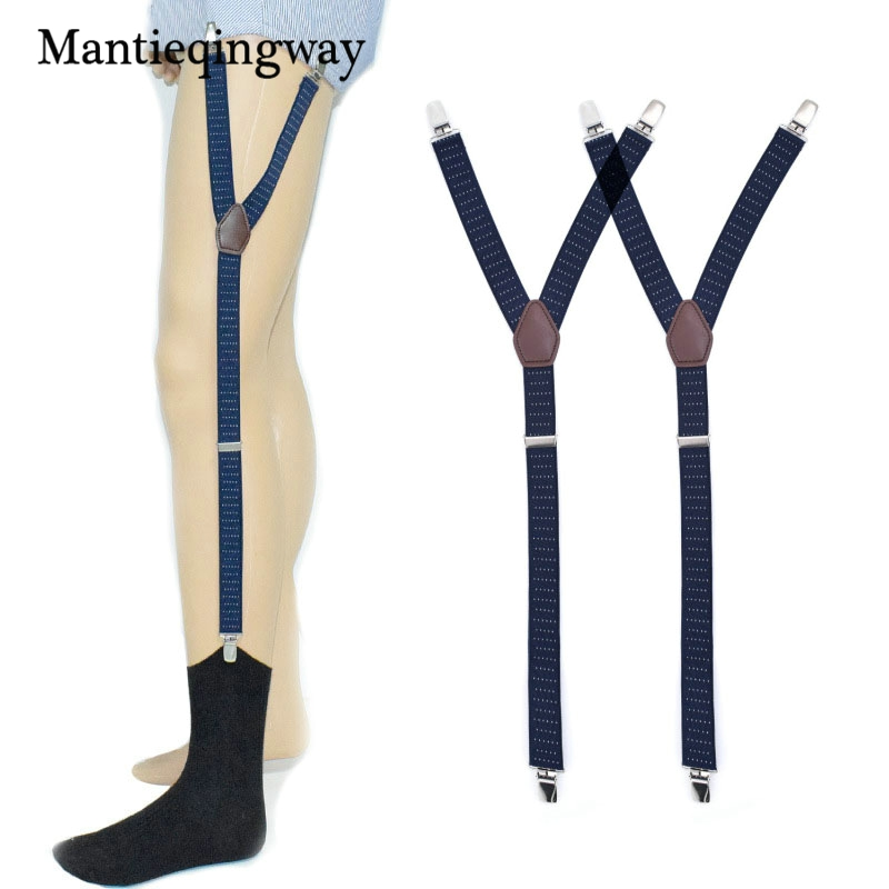 Mantieqingway Mens Shirt Stays Garter Navy Blue Y-back Adjustable Elastic Straps Sock Suspenders Polka Dots Socks Garters Belts