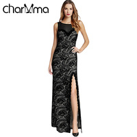 VESTLINDA Summer Sexy Elegant Bodycon Dress Female Robe Maxi Plus Size Lace Spliced Sheer Slit Dress