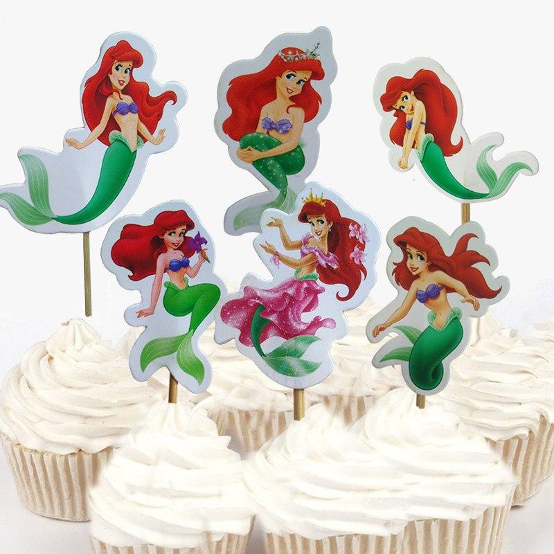 Us 12 30 Off24 Pcs48 Pcs Disney The Little Mermaid Princess Ariel Cupcake Puncak Untuk Dekorasi Kue Ulang Tahun Pesta Pernikahan Pemasok In