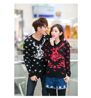 Hotest New Design For Christmas Sweaters Snowflakes And Fawn Printing V Neck Couple Sweater Popular Ugly