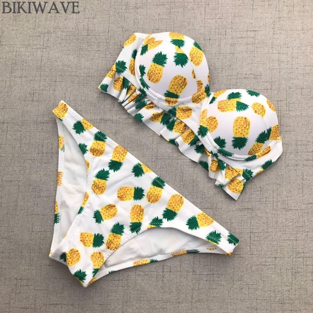 2019 Pineapple printed sweety bikini set underwire push up bandeau bathing swimsuits low waist women swimming suit