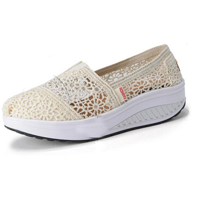 Mulheres Sapatos de Fitness Respirável Rendas Multicolor cunhas Sapatos de verão Mulher Moda Casual Perder Peso Sapatos de Muffin ac37