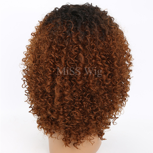 Image 4 - MISS WIG Black Mixed Brown Kinky Curly Wigs For Black Women Afro Wig Synthetic Hair African Hairstyle Hight Temperature Fiber