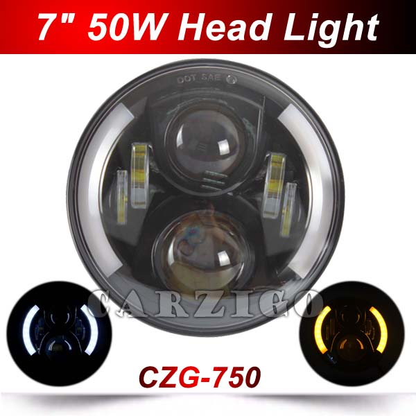 CZG750 50W 7 LED Headlight with High/Low beam white+amber angel eyes DOT 7 inch round led headlamp for harley for jeep wrangler 2pcs 7 inch round led headlight with white amber lighting color drl 7 high low beam headlamp for jeep wrangler