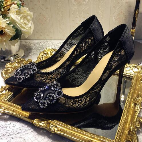 Sexy Lace Women Pumps Pointed Toe Dress Shoes Woman Black Fashion Ladies Stiletto New Wedding Shoes 2017 Spring Sandals Heels sexy pointed toe high heels women pumps shoes new spring brand design ladies wedding shoes summer dress pumps size 35 42 302 1pa