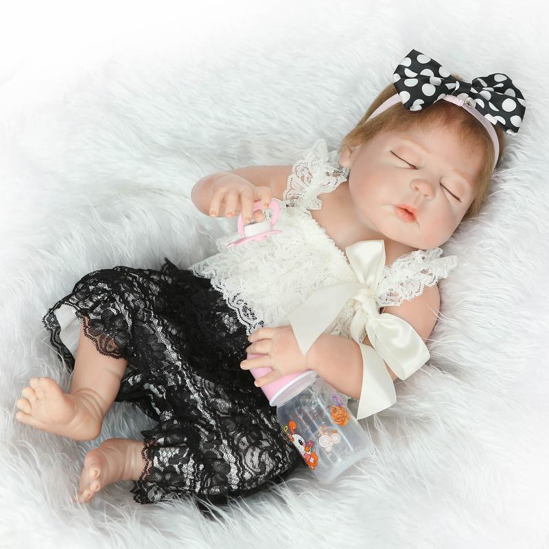 NPK Reborn Acrylic eye Baby Doll Full Body Silicone Vinyl Lifelike Sleeping Girls Doll Training props 57cm Fashion Kids Toys