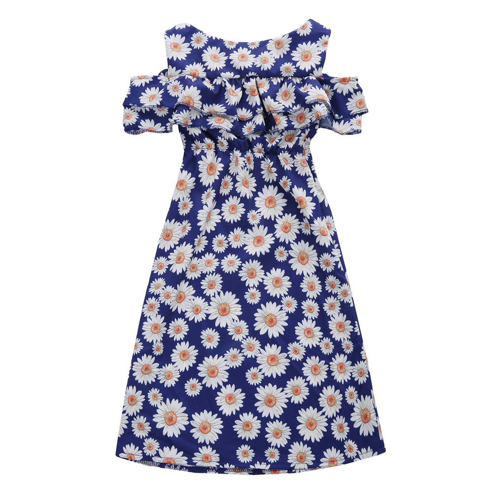 Blue Color Hot Cute Kids Baby Girls Flower Print Fold Sleevesless Princess Dresses Outfits High Quality Dropshipping AG30 19