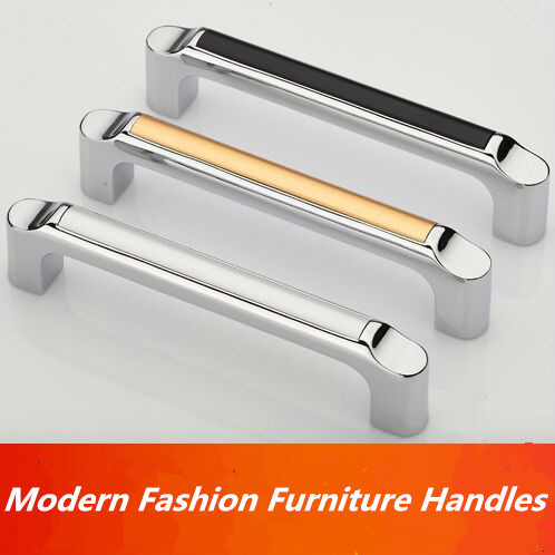 96mm modern fashion furniture handles shiny silver black drawer cabinet pull knob chrome gold white dresser cupboard door handle
