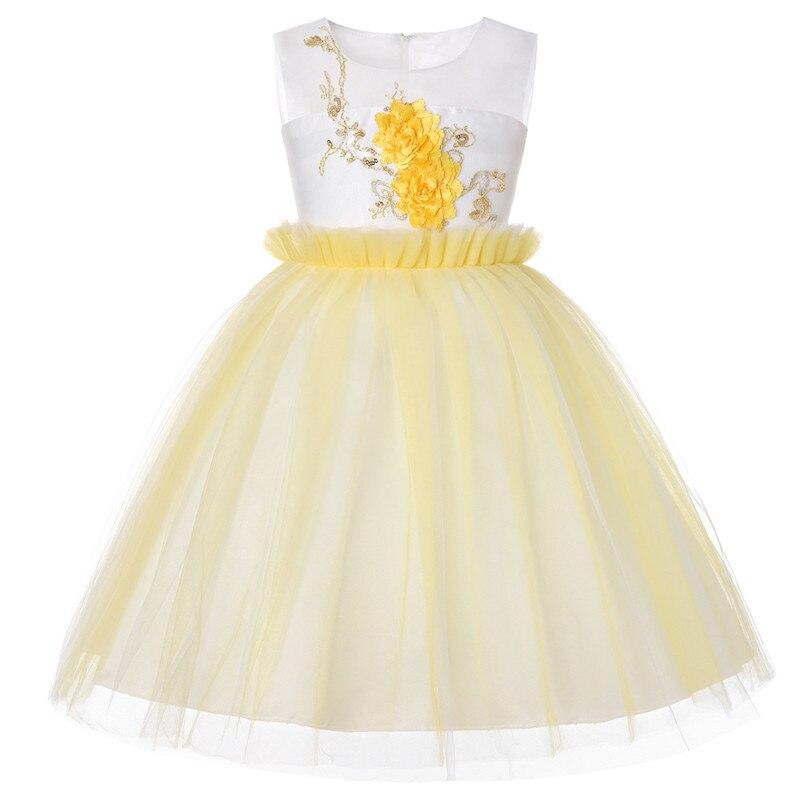 Summer Children Sequin Dresses Elegant Baby Girl Embroidered Dress Kids Princess Birthday Prom Designs Ball Gown Girls Dresses