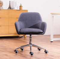 Mid Back Upholstered Home Office Chair Ergonomic Desk Chair with Arms for Conference Room or Office Furniture Computer Chair