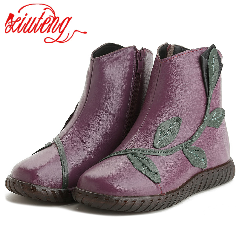 Xiuteng 2018 Plush Winter Shoes Women Ankle Boots Woman Genuine Leather Flats Boots Mother Casual High Quality Warm Snow Boots недорго, оригинальная цена