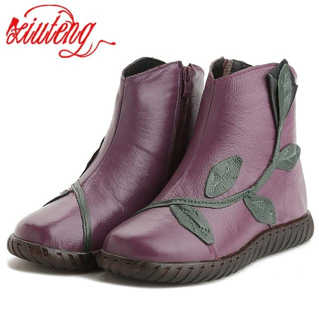 Xiuteng 2019 Peluş Kış Ayakkabı Kadın yarım çizmeler Kadın Hakiki Deri Daireler Boots Anne Rahat Yüksek Kaliteli Ilık Kar Botları