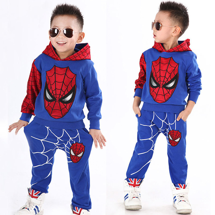 Boys Spiderman Clothing Sets Sport Suit For Boys Spring Cotton Spider Man Cosplay Costumes Kids Suits Children Clothing For 1-6Y 2