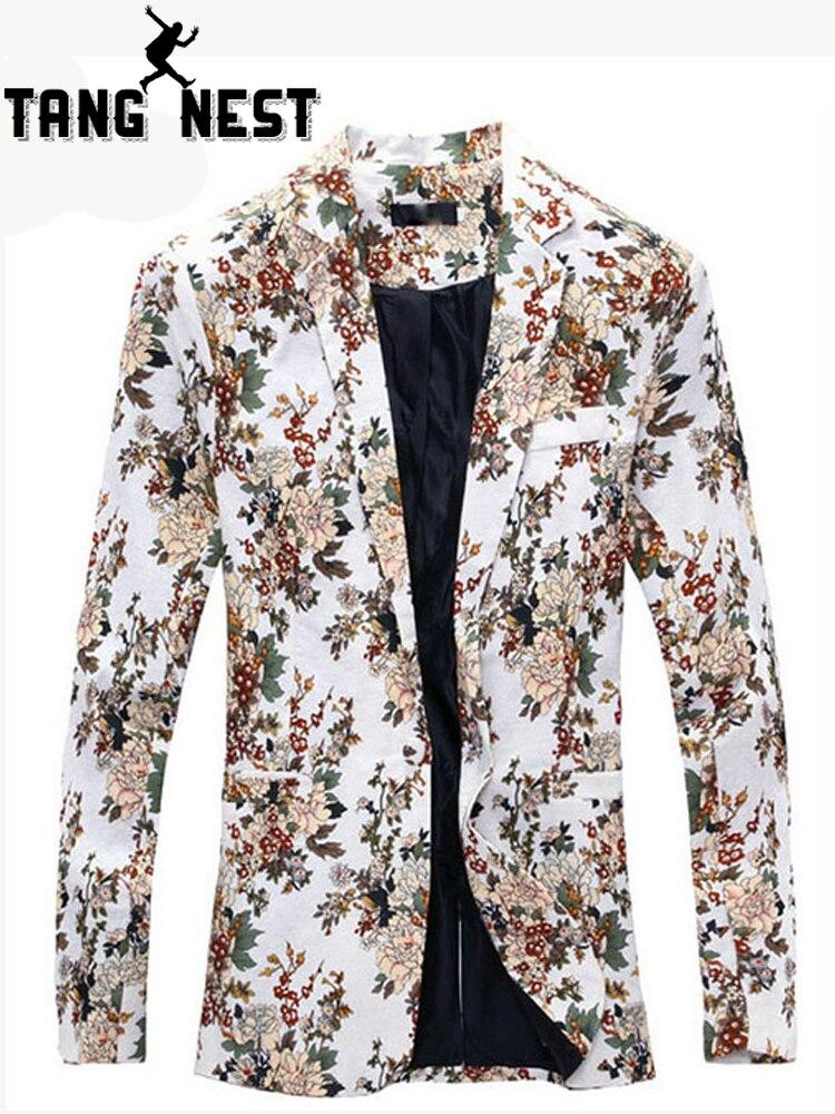 Tangnest Blazer Männer 2019 Fashion Floral Persönlichkeit Design Casual Männer Blazer Terno Masculino Dünne Bequeme Männer Blazer Mwx338 üBerlegene In QualitäT