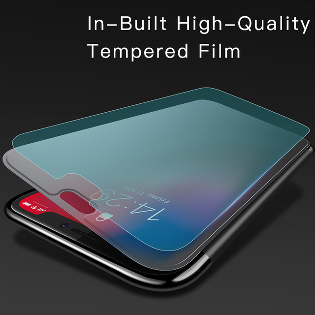 Baseus iPhone X XS XR XS Max Luxury Tempered Glass Full Protective Flip Case Cover