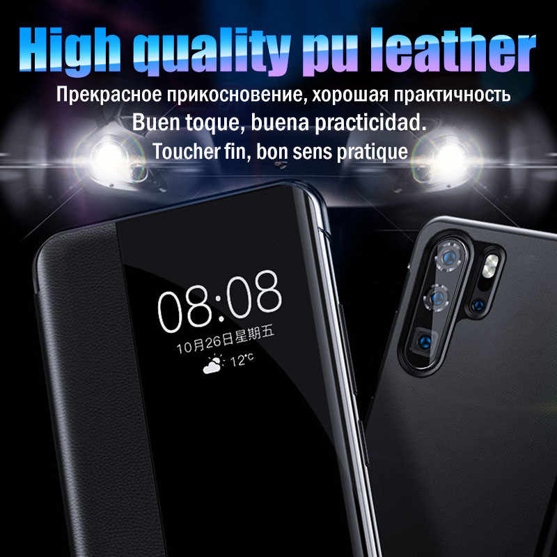 Luxury Smart Clear View Flip Phone Case For Huawei P20 Lite P30 Pro Leather Protective Case For Huawei Mate 20 Pro Lite Cover