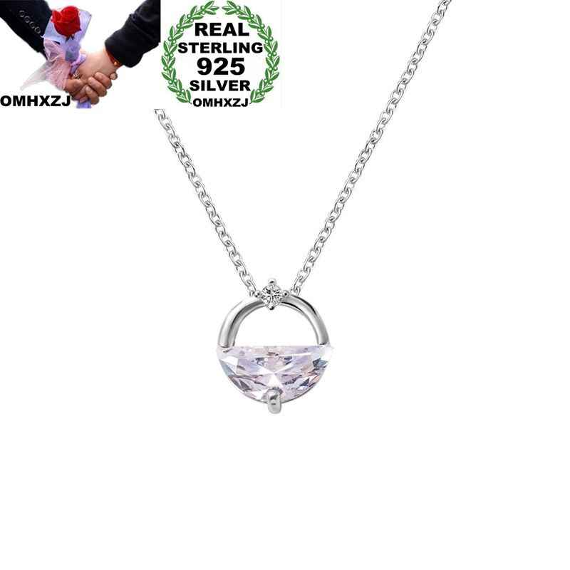 OMHXZJ Wholesale European Fashion Woman Girl Party Wedding Gift Half Round AAA Zircon 925 Sterling Silver Pendant Necklace NA60
