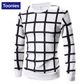 Men's Casual Slim Pullover Sportswear Tops Autumn Cotton Long Sleeved Sweatshirt Homme tracksuit  Black And White Big Plaid Type