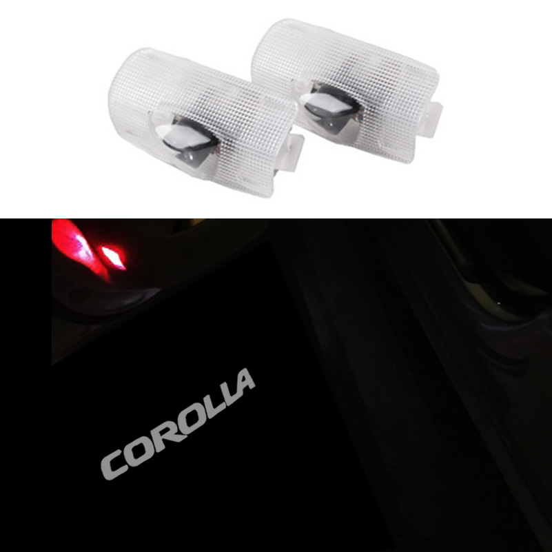 2 x Car Door Welcome LED Laser Projector Logo Light for Toyota Corolla 2007-2011 2x led car door welcome light for toyota corolla emblem logo projector lamp for toyota corolla spoiler estate levin coupe saloon