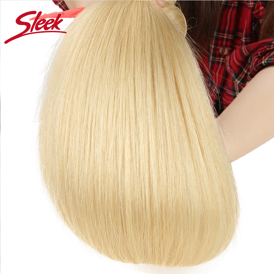 Image 5 - Sleek Colorful Hair Mink Blonde 613 Bundles With Lace Frontal Brazilian Body Wave2 3 4 Bundles With Frontal Remy Hair Extension-in 3/4 Bundles with Closure from Hair Extensions & Wigs