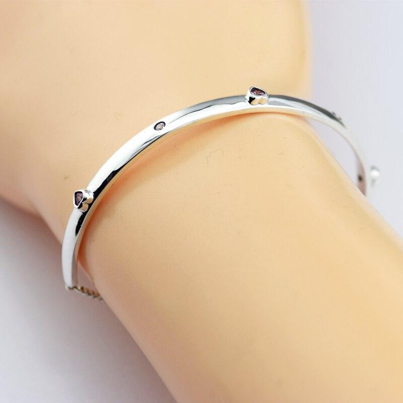 Explosion d'amour Bracelets pour femme Rose CZ Cristal Argent 925 Bijoux bricolage Accessoires Coeur Pierre Charmes Coulissantes Bracelets