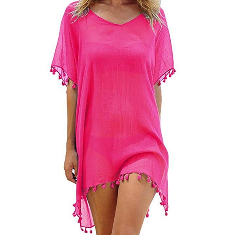2018 New Chiffon Tassels Beach wear Women Swimsuit Cover up Swimwear Bathing Suits Summer mini Dress loose solid Pareo Cover Ups