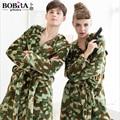Grlbobra 2016 novo casal de inverno homens e mulheres camuflagem com capuz de flanela robes roupões espessamento casal homewear 0529