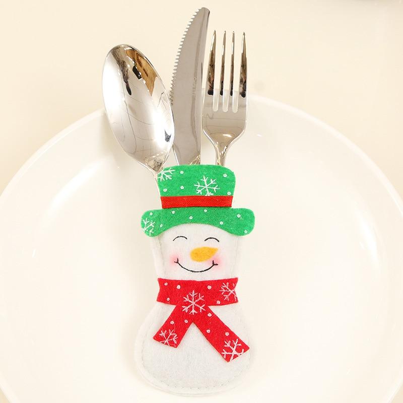 Шляпа Санты, олень, Рождество, Год, карманная вилка, нож, столовые приборы, держатель, сумка для дома, вечерние украшения стола, ужина, столовые приборы 62253 - Цвет: H13