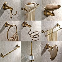 Antique Brass Carved Bathroom Hardware Wall Mounted Bathroom Accessories Set Toilet Paper Holder Towel Bar Soap