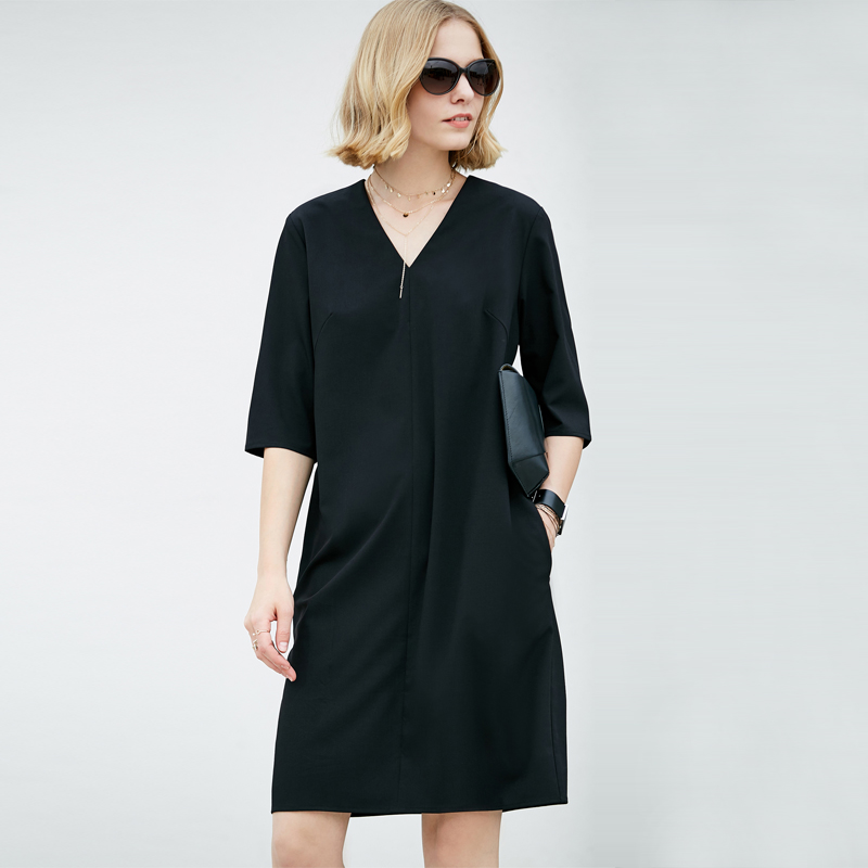 Amii Casual Women Dress 2018 Summer Simple Straight V-neck Half Sleeve Knee Length Dresses
