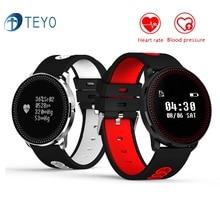 Teyo SmartBand CF007 сердечного ритма Мониторы Приборы для измерения артериального давления часы круглые Сенсорный экран погоду напоминание Спортивная запястье для iOS и Android