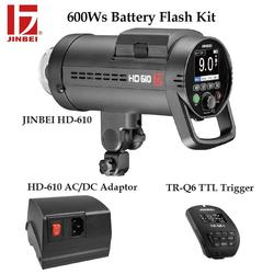 JINBEI HD-610 600W Battery Powered Photo Flash Kit with HSS TTL TR-Q6 Trigger and AC/DC Adapter Outdoor Photography