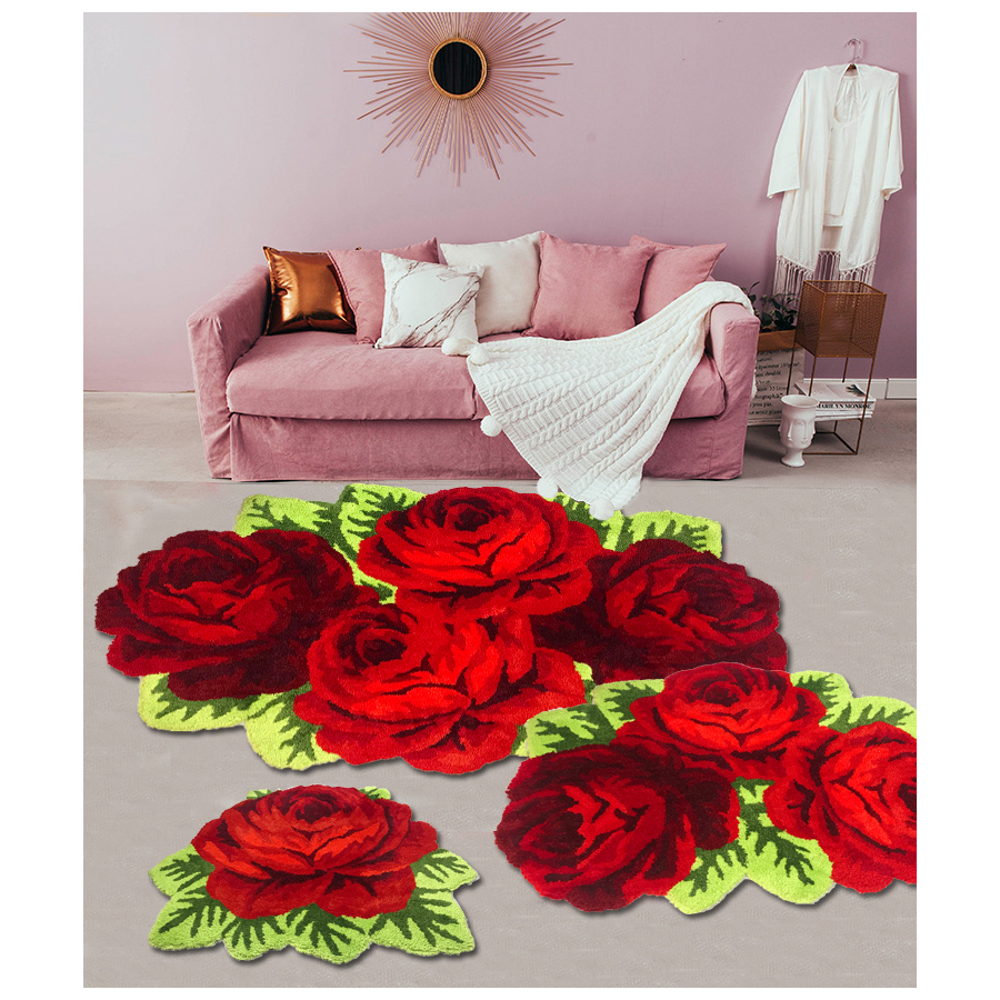 Fluffy Plush Red Rose Wedding Rug Soft Shaggy Microfibers Non-Slip Rug Bath Mat Washable Absorbent Carpet For Livingroom/Bedroom