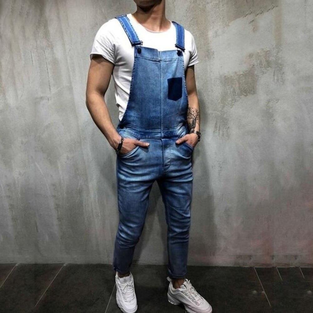2019 Hot Sales Men Vintage Jeans Jumpsuits Fashion Distressed Denim Bib Overalls Male Suspender Pants New Casual Jeans Jumpsuit