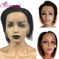Bouncing Human Hair Brazilian Remy Hair Customized 13*4 Lace Frontal Side Part Wigs Short Pixie Cut Wigs #1B&#1B/27&#1B/30 Wigs