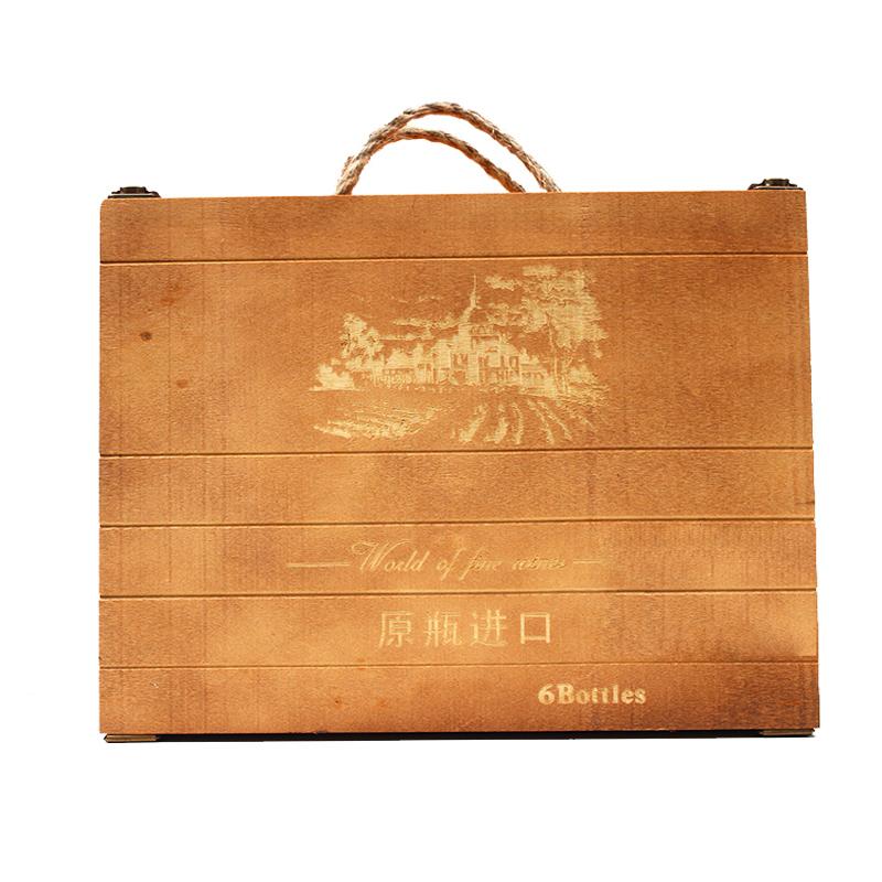promocional nuevo seis nio caja de regalo de madera del vino caja de madera al por