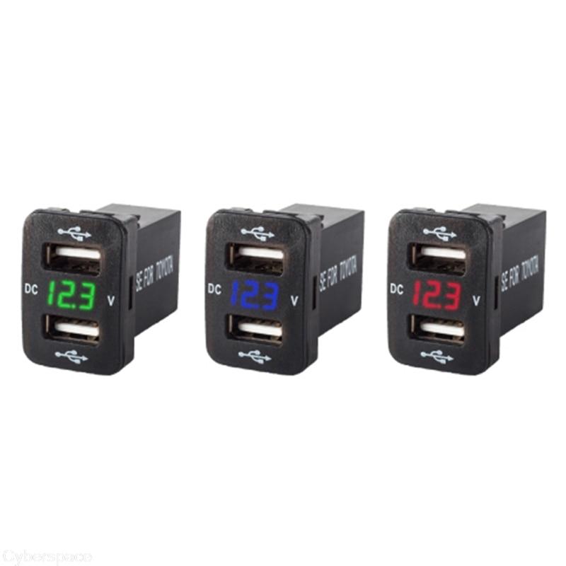 12 V Double Ports USB Chargeur De Voiture Prise Voltmètre 4.2A Puissance Adaptateur Pour Toyota