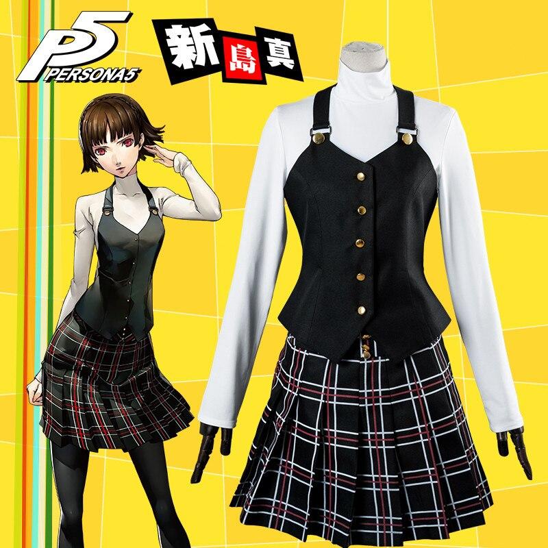 Anime! Persona 5 Makoto Niijima School Uniform Cosplay Costume For Women waistcoat+knitting shirt+skirt+pantynose Free Shipping 2018 persona 5 makoto nijima cosplay costumes women school uniform
