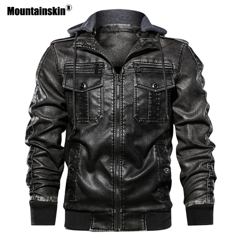 Mountainskin Leather Jackets Men 2020 Autumn Winter Men's Hooded PU Coats Male Fashion Motorcycle Outwear Brand Clothing SA720