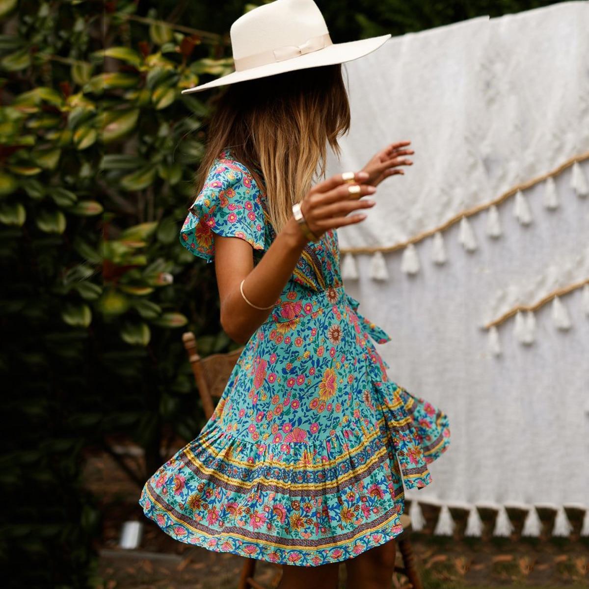 8196c71806dc3 US $18.28 Jastie turquoise multi Printed Mini Dress Boho v neck wrap ...